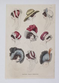 1805 London Head Dresses. Hand-colored engraving. Museum of London.
