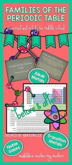 Families of the Periodic Table PowerPoint Coloring Activity for Middle School Students. Science curriculum resource to teach students about the properties and similarities  of each of the families on the periodic table.  Includes: PowerPoint, Blank Periodic Table, and Note Sheet. Great addition to any chemistry unit!  Available on TeachersPayTeachers from Kristin Lee.