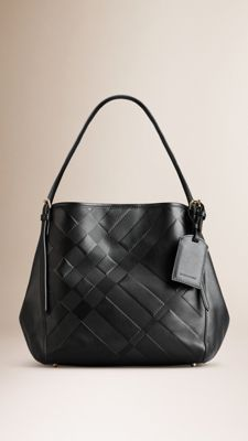 """Tote Bag:  The Small Canter in Check Embossed Leather.  Burberry.com, 2015.  11.6"""" x 15.5""""."""