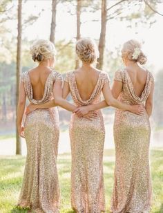 Sequins Bridesmaid Dresses Capped Sleeves Sweep Train Sexy Backless Prom Dresses