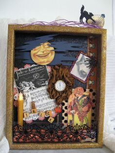Art Collage Assemblage Vintage Halloween Shadow box by MindCollage - I love miniature scenes