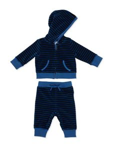 Striped Velour Jogger Set, Deep Green/Marine by Burberry at Neiman Marcus. Newborn Outfits, Pull On Pants, Zip Hoodie, Baby Design, Neiman Marcus, Burberry, Joggers, Hoodies, Boys
