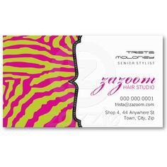 BUSINESS CARD cool trendy zebra print lime green + hot pink.  Wow - what a bright and funky combination!!  Perfect for hip and happening hairdressers, nail technicians, makeup artists, musicians and fashion accessories businesses.  Setup as a template it is easy for you to enter your own details - make it yours!!  An affordable, easy way for you to have professionally designed and printed business card to grow your business image