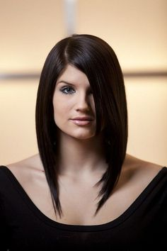 Shoulder length angled bob hairstyles with side bangs for black straight hair with best style