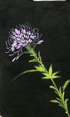 영이의 블로그.. Painted Bags, Painted Clothes, Hand Painted, Embroidery Flowers Pattern, Flower Patterns, Hand Kunst, Black Background Painting, Easy Flower Painting, Painted Driftwood