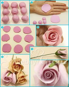 TUTORIAL ??? I WODER IF YOU COULD USE FONDANT AND PUT FLOWERS ON EDIBLES ITEMS ... Master class in decorating wedding glasses. Roses from Japanese clay.