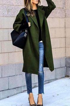 4e0cb2607b67 Fashion Lapel Collar Solid Color Woolen Outerwear. Bibiána · Dámska móda