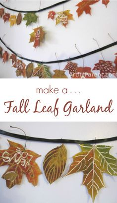 How to make a beautiful fall leaf garland from pressed autumn leaves & metallic marker doodles. Write what you are thankful for as a Thanksgiving variation.