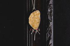 Handmade Druzy Citrine and Garnet Sterling Silver Necklace