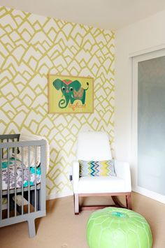 Lynn Chalk - Kids Room in Schumacher Zimba Wallpaper Soft Chartreuse, Please contact me for more information.  (http://store.lynnchalk.com/kids-room-in-schumacher-zimba-wallpaper-soft-chartreuse/)