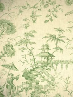 Scalamandre Pillement toile - green linen