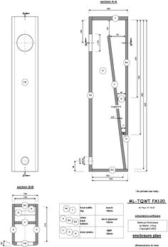 Fostex FX120 ML-TQWT (transmission line) Enclosure Plan Drawing