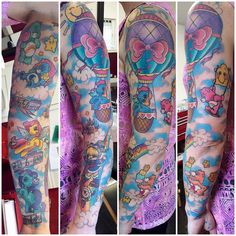 Pretty much done on this MLP/Care Bear/Rainbow Brite sleeve!!  all healed apart from some background and the orange care bear (tenderheart bear!)