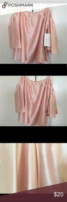 Rose Off the shoulder shirt Off the shoulder w/ straps  Never worn High quality Silk 💞 XS but loose. Can fit as a S Halston Heritage Tops