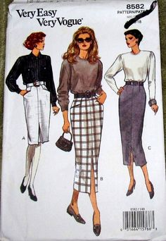 Vogue 8582 Fitted Tapered Skirt Front Pleat Slit Womens Misses Easy Vintage Sewing Pattern Size 14 16 18 Wiast 28 30 32 Uncut Factory Folds by RosesPatternsEtc on Etsy