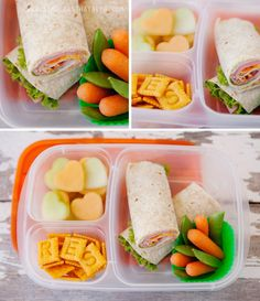 Turkey wrap, cantaloupe and honeydew, cheez-its, carrots and snow peas.