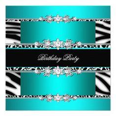 Teal Blue Black Zebra White Jewel Birthday Party Custom Announcement invitations Birthday invitations by zizzago.com