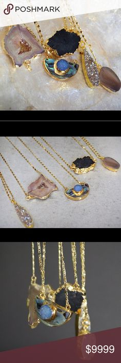 "Buy 1 get 1 50% off! Druzy Necklaces One of a kind, only one of each made! Listing is for one of the necklaces pictured, please choose desired number of necklace (as pictured) at checkout. Each unique pendant is on a gorgeous shimmery 18"" tarnish resistant, gold plated chain. Function & Fringe Jewelry Necklaces"