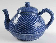 Bordallo Pinheiro Basketweave Blue Tea Pot 7640990 | eBay