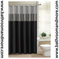 Superb Black And Gray Fabric Shower Curtain With Metallic Silver Accent Stripe