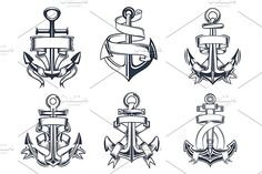 Marine themed ships anchor icons wit by seamartini on @creativemarket