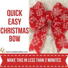 This Easy Christmas Bow only takes about 2 minutes to make and is super duper simple. All you need is wire edged ribbon and a zip tie (or twist tie if you Tie Bows With Ribbon, Diy Ribbon, Ribbon Hair, Hair Bows, Ribbon Crafts, Ribbon On Christmas Tree, Christmas Ribbon, Simple Christmas, Christmas Kitchen