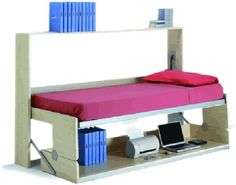 OK, now if you truly live in a closet, as many claim to, you obviously need one of these. By day, this modern take on the murphy bed features a long desk that can accommodate all your home office needs. By night, the back wall of the office space folds down to reveal a twin mattress. The office table simply slides down to ground level, so you don't have to remove any of your heavy office peripherals. One more photo of the thing in action after the jump...