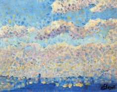 Louis Hayet - Sky over the city (oil on canvas)