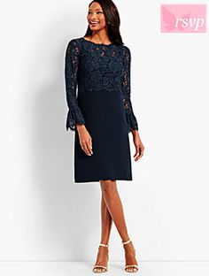 Shop Talbots for modern classic women's styles. You'll be a standout in our Crepe & Lace Dress - only at Talbots! Mob Dresses, Tea Length Dresses, Dresses For Work, Formal Dresses, Midi Dress With Sleeves, Lace Dress, Classic Cocktail Dress, Beautiful Dresses For Women, Classic Style Women