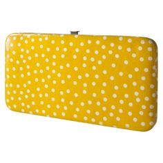 wallet---the hard-ish, snap shut kind... not yellow polka dot, prefer a solid bright color, but not too picky...carrying purple purse right now.