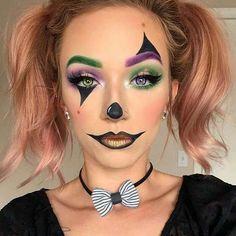 Maquillage Halloween Clown, Halloween Makeup Clown, Halloween Eyes, Cute Clown Makeup, Creepy Halloween, Simple Halloween Costumes, Simple Costumes, Circus Makeup, Scarecrow Makeup