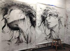 ewa hauton #face #studio #charcoal #wip