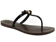 Tory Burch Women's Leighanne Flat Thong Sandals Patent Saffiano Leather 8.5 B, M #ToryBurch #FlipFlops #Casual