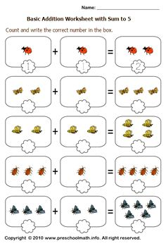 basic addition worksheets with sum to 5