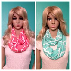 Quatrefoil coral and mint infinity scarves, by Beckysscarfshop, $15.00