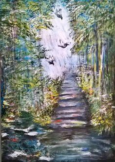 """Saatchi Art Artist Jos pascau; Painting, """"FOREST BIRDS"""" #art"""