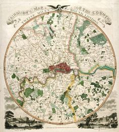 Map of Twelve Mile Area around London, c1798