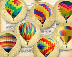 12 Hot Air Balloon Collection Digital Collage Sheet by OldiesPixel