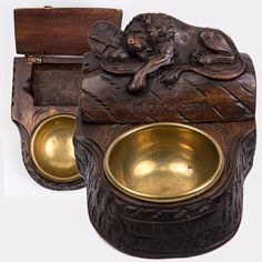 Antique Black Forest Hand Carved Wood Match Box and Ash Tray, Lucern Lion