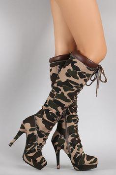 Bamboo Camouflage Combat Lace Up Stiletto Platform Boots - JP Murga's - 2