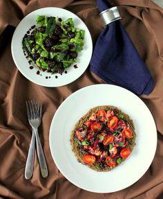 Vegan Richa: Vegan Chopped: Black-eyed Pea Pizza crust, Blackberry Tomato chutney w/ Cauliflower, and Spinach Blackberry Mint Salad. Glutenfree, recipe