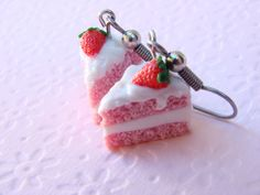Strawberry Cake Earrings with Vanilla Icing - Polymer Clay Food Jewelry. $14,99, via Etsy.