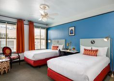 Updated rooms at the boutique Hotel Carlton in San Francisco offer bright colors and tons of natural light.