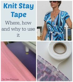Sewing Fabric Everything you need to know about Knit Stay Tape - its a miracle. I'll be using this on all my knit and stretch projects from now on. Sewing Lessons, Sewing Hacks, Sewing Tutorials, Sewing Crafts, Sewing Tips, Sewing Ideas, Sewing Basics, Techniques Couture, Sewing Techniques