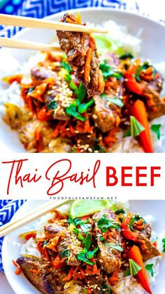 Thai Basil Beef (Pad Gra Prow) is tasty easy and so satisfying. Its loaded with flank steak bell pepper garlic shallots carrots basil and a deep dark Thai sauce! Thai Basil Recipes, Thai Basil Beef, Easy Thai Recipes, Asian Recipes, Asian Foods, Thai Beef Recipe, Roast Beef Recipes, Nasi Goreng, Moda Masculina