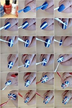 Diy Nail Designs How To Paint British Flag Nail Art Manicure Step By Step Diy Tutorial Instructions % Nail Art Diy, Easy Nail Art, Diy Nails, Cute Nails, Pretty Nails, Manicure Steps, Manicure Y Pedicure, British Flag Nails, Union Jack Nails