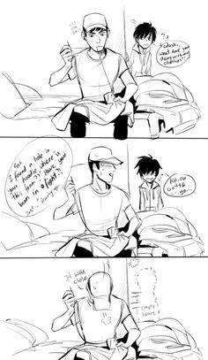Tadashi sewing trackers into Hiro's hoodies :')