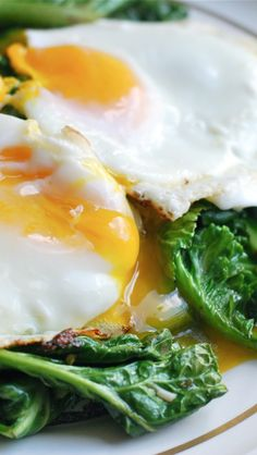 Garlicky Sauteed Greens with Eggs (substitute cider vinegar & extra olive oil) - candida cleanse