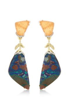 One Of A Kind 18K Gold Peach Drusy, Azurite Cuprite, And Malachite Petra Earring by Kara Ross for Preorder on Moda Operandi