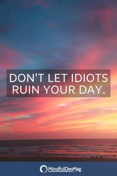 Don't let idiots ruin your day.   #mindfulness #mindful #quote #quotes #motivation #motivational Don't Let, Let It Be, Hours In A Day, Feeling Lost, Mindfulness Quotes, Body And Soul, Big Picture, Anxious, Something To Do